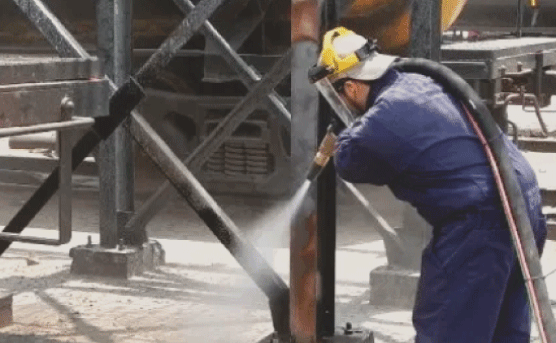 When it comes to industrial or commercial sandblasting, we can do it all. We can sandblast warehouses, steel structures, buildings, concrete, bridges, etc. It can also be exterior or interior applications. You name it, we can usually do it.